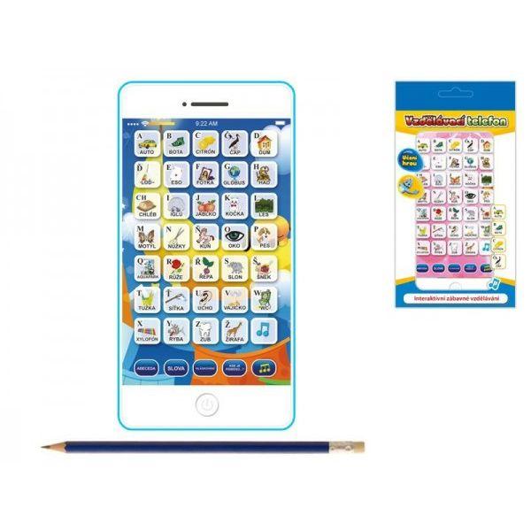 Vzdělávací telefon mobil plast 15,5x8x1,5cm česky mluvící na baterie 2barvy v krabičce