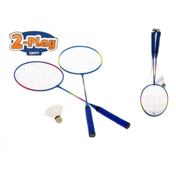 Badmintonové rakety 2ks kov s košíčkem 63cm v síťce